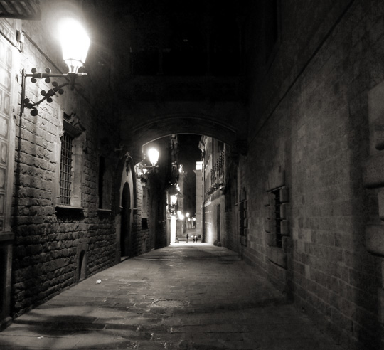 Barcelona's Gothic Quarter at night