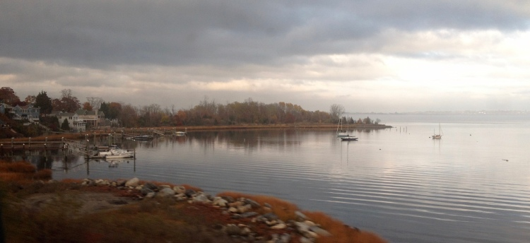View of the sea from the train from New York to Boston