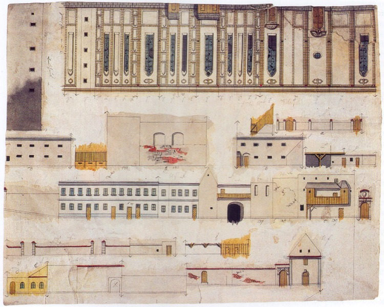 Unfinished Strahov monastery in Langweil's model of Prague, c.1836.