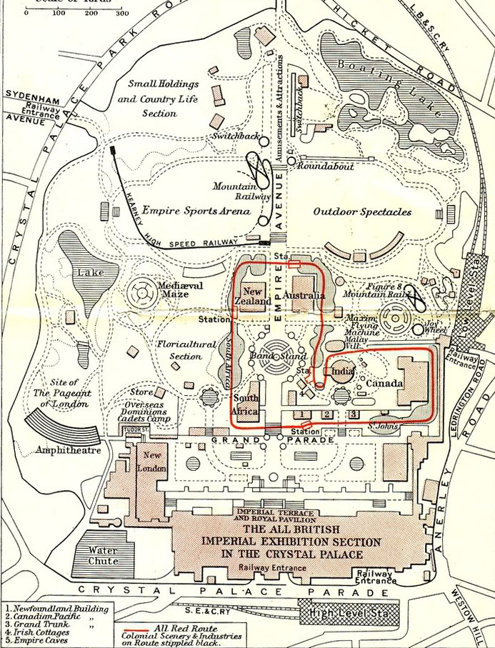 Map of the 1911 Festival of Empire ground, including the All Red Route